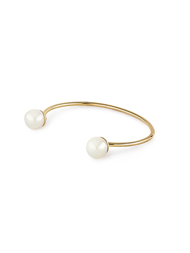 Open Pearl Bangle - Gold 2