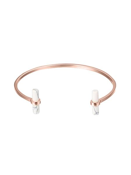 White Marble T Bangle - Rose Gold
