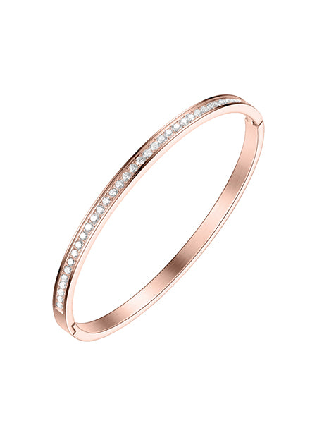 Classic Crystal Bangle - Rose Gold