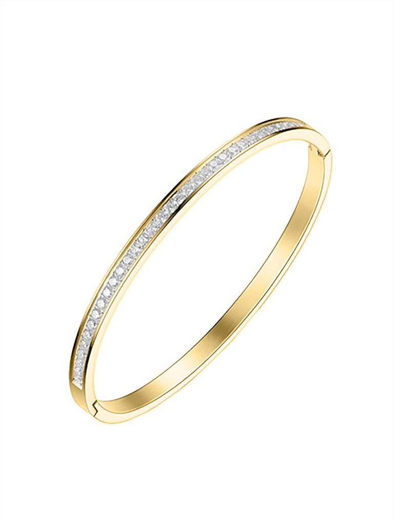 Classic Crystal Bangle - Gold