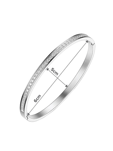 Classic Crystal Bangle - Silver