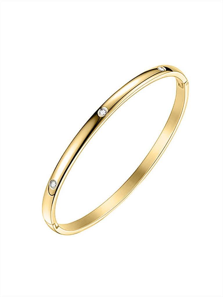 Modern Crystal Bangle - Gold