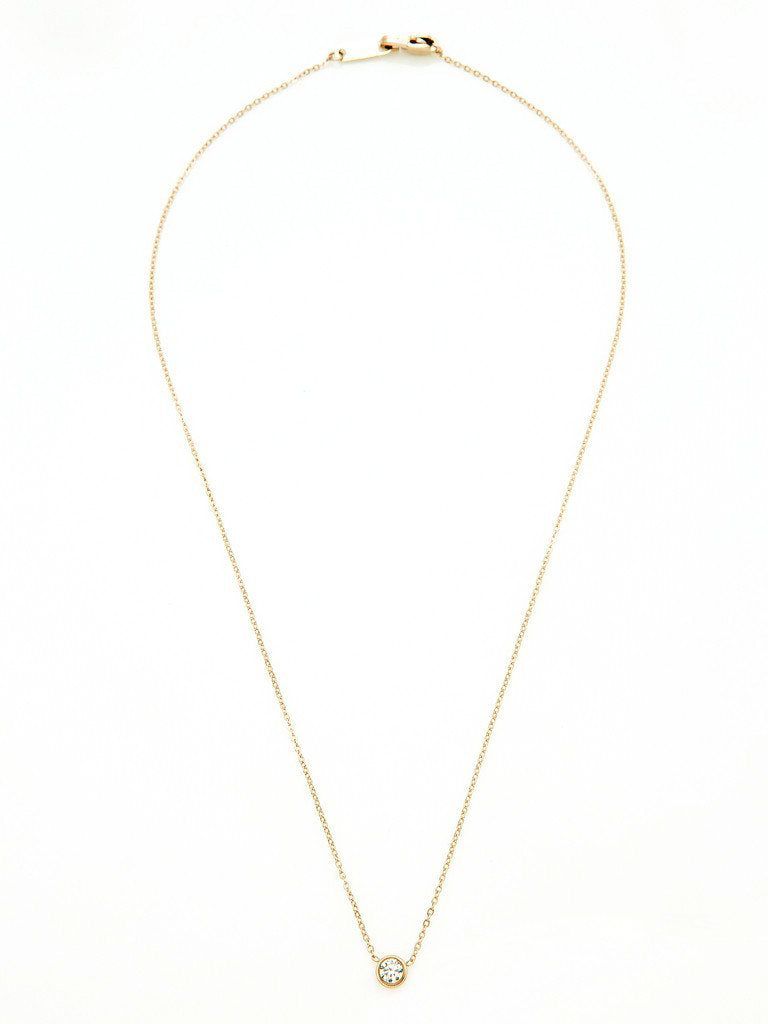 Crystal Bezel Necklace - Gold