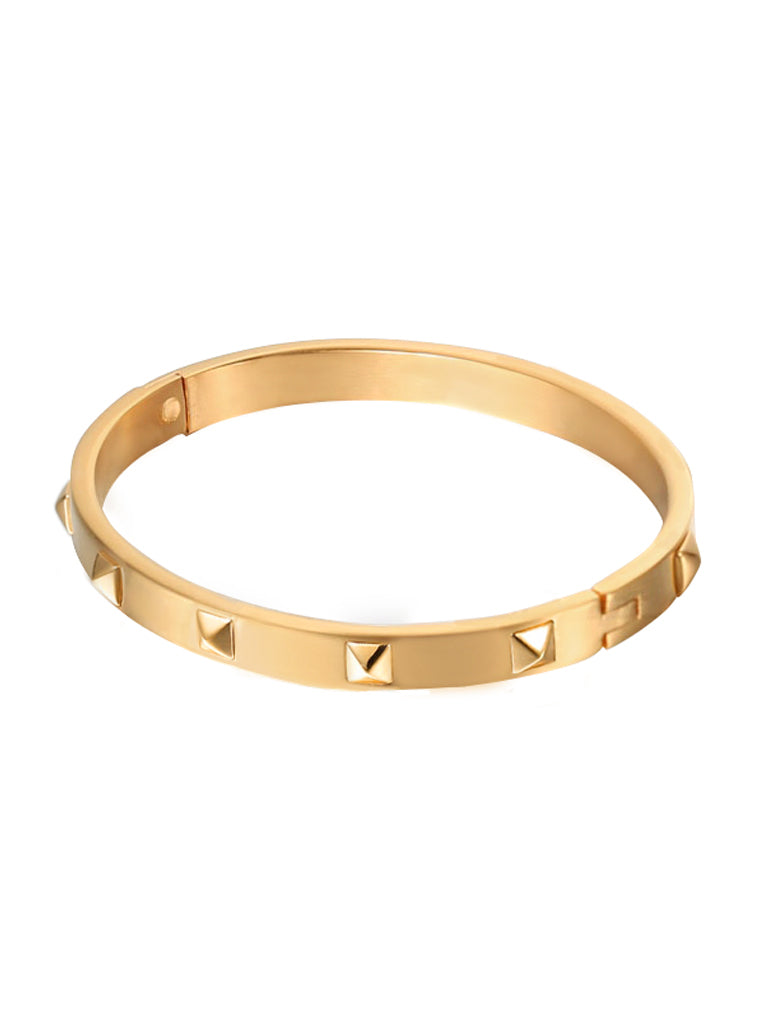 Metallic Stud Bangle - Gold