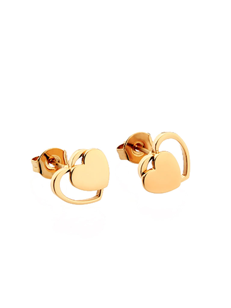 Double Heart Stud Earrings - Gold