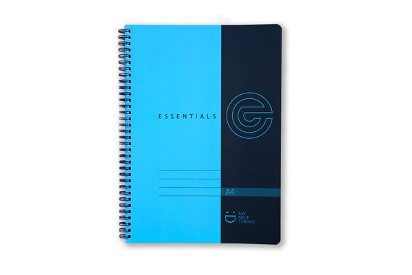 Image of A4 wiro bound Essentials notebook in blue
