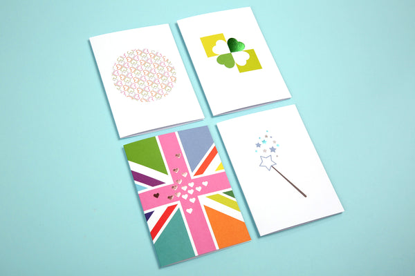 Image showing all designs in the Say Nice Things Good luck cards range
