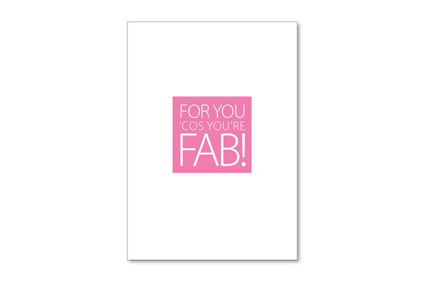 Image showing the front of the Cos You're Fab A6 postcard