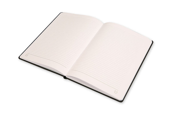 Image of Cadence A5 Notebook open on lined page with lay flat binding