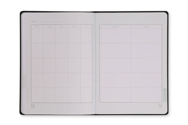 Page spread of the Cadence A5 Journal showing the perpetual calendar page design
