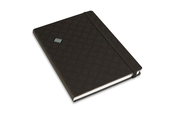 End view of Chequer A5 Journal showing black elastic closure and black Peltouch cover and screen print