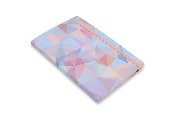 Side view of Crystal A5 Notebook showing cover design and rounded spine