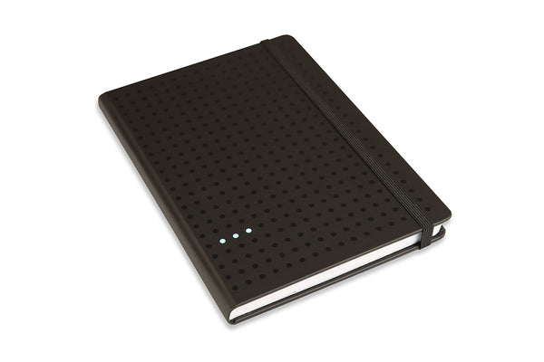 Angled view of Curtis A5 Journal showing black Peltouch cover with black elastic closure