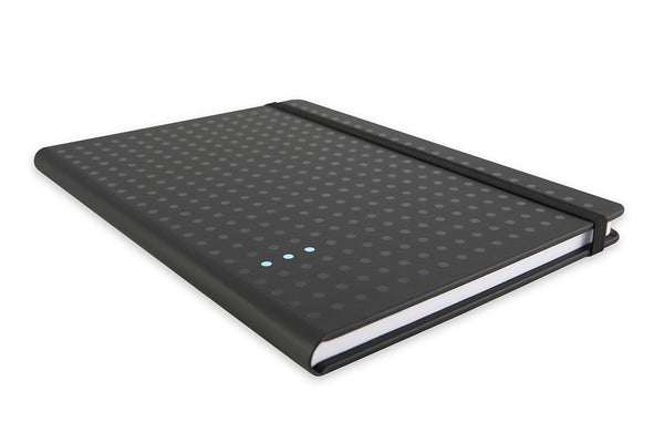 End view of Curtis A5 Notebook showing black elastic closure and dot design screen printed cover