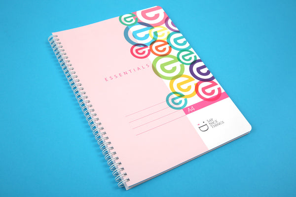 Image of A4 Essentials notebook in Candy colours viewed from the side