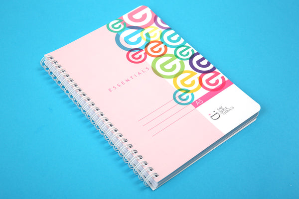 Image of A5 Essentials notebook in Candy colours viewed from an angle