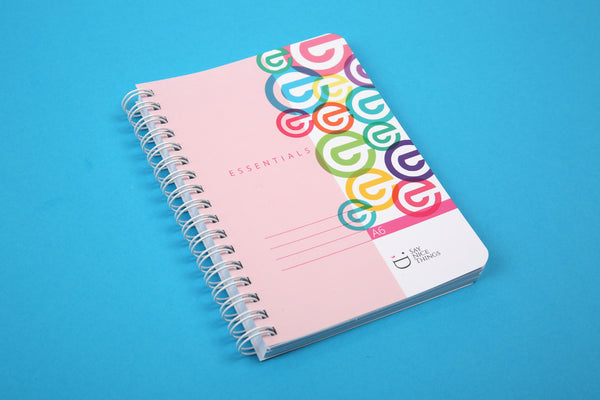Image of A6 Essentials notebook in candy viewed from an angle