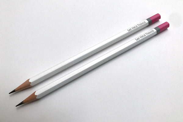Image of two pack of Say Nice Things pencils in white with pink and grey tips
