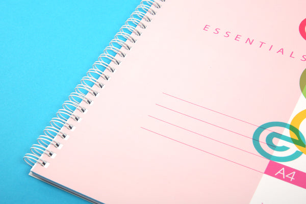 Image of A4 Essentials notebook in Candy Colours showing wiro binding