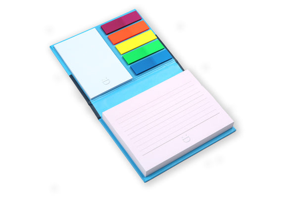 Image of Essentials Notespod in blue opened showing sticky notes and page markers