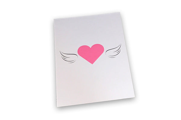 Angled image of Hearts All a Flutter A6 postcard