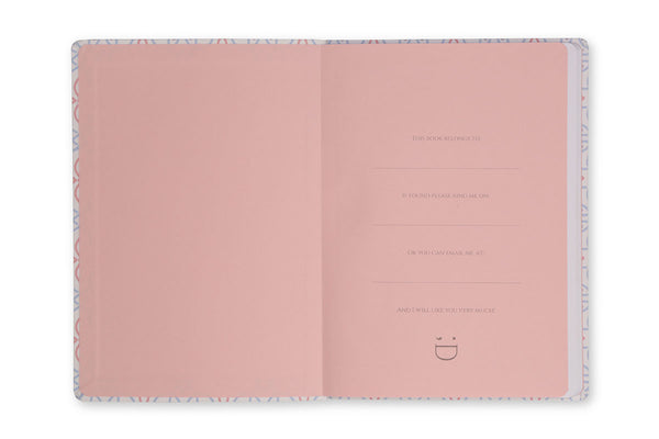 Image of Celtic A5 Notebook inside front cover showing pink end paper design