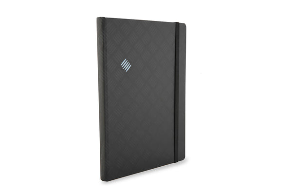 Side view of Chequer A5 Notebook showing black Peltouch cover design and rounded spine