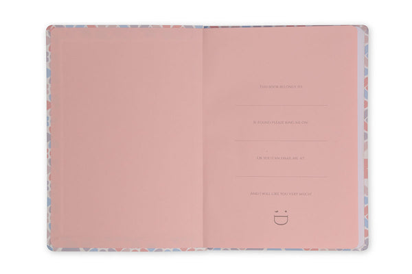 Image of inside front cover of Clover A5 Notebook showing pink end paper design