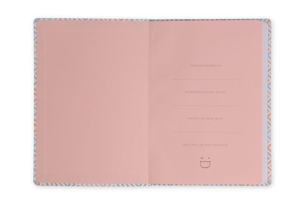Image of inside front cover of Constance A5 Notebook showing pink end paper design