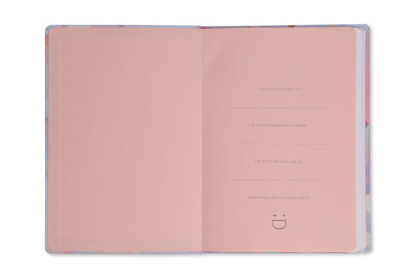 Image of Crystal A5 Notebook inside front cover showing pink end paper design