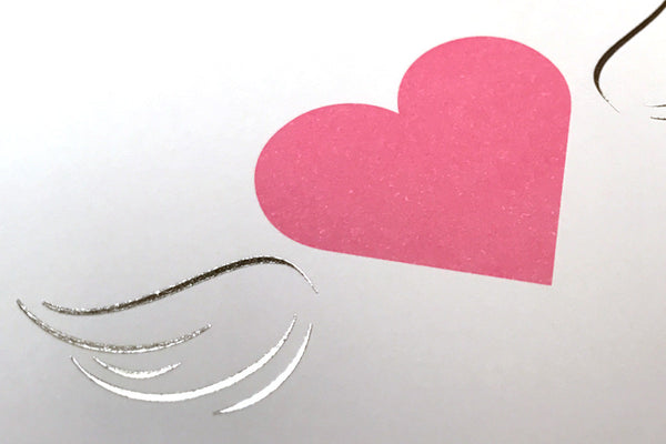 Image showing close up of silver foil of wings of Hearts All a Flutter postcard