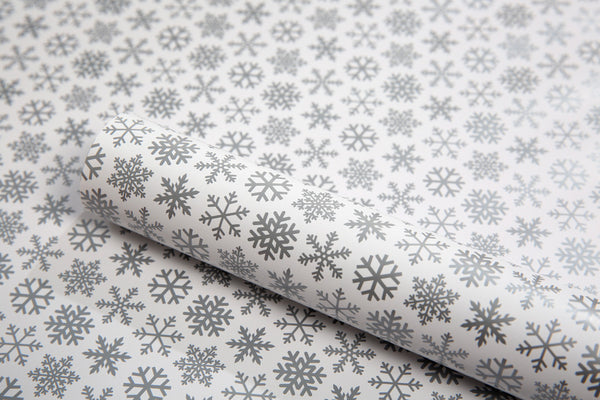 Close up image of Shimmery Snowflakes Christmas wrapping paper design