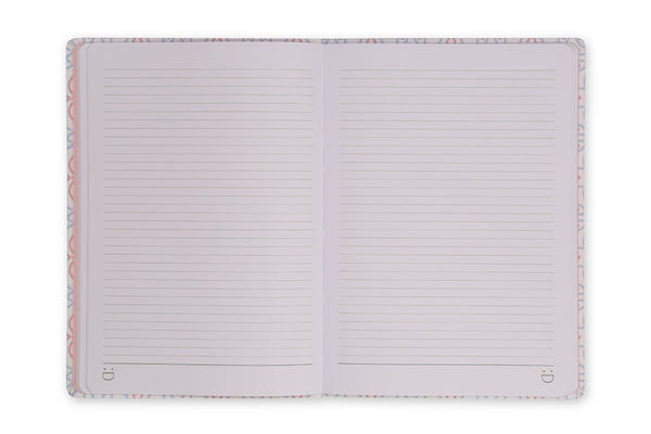 Image of Celtic A5 Notebook with lay flat binding showing lined pages