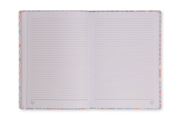 Image of Clover A5 Notebook open to show lined page design and lay flat binding