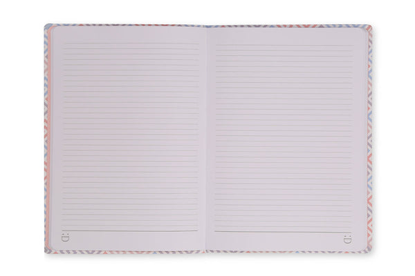 Image of Constance A5 Notebook open to show lined page design and lay flat binding