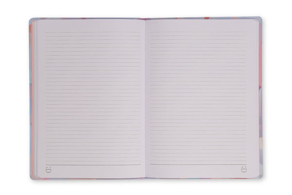 Image of Crystal A5 Notebook open to show lined page design and lay flat binding