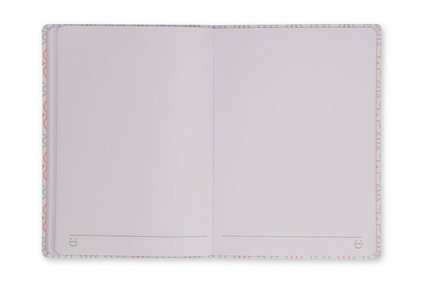 Image of Celtic A5 Notebook open showing lay flat binding and plain page design