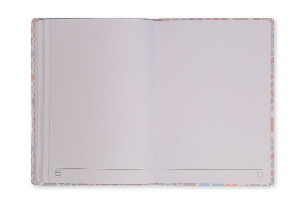 Image of Clover A5 Notebook open to show plain page design and lay flat binding