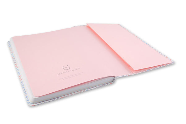 Image of inside rear cover of Constance A5 Journal showing pink end papers and gusset pocket