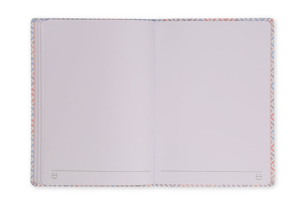 Image of Constance A5 Notebook open to show plain page design and lay flat binding