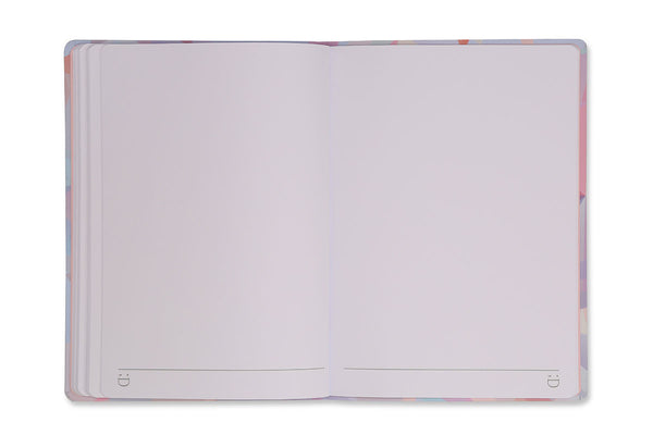 Image of Crystal A5 Notebook open to show plain page design and lay flay binding