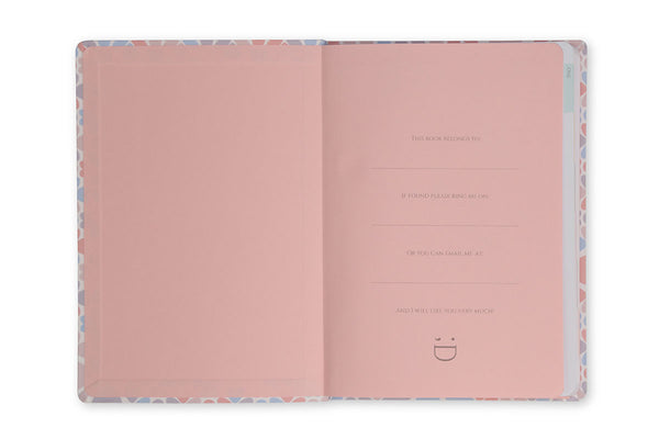 Inside front cover of Clover A5 Journal showing pink end papers