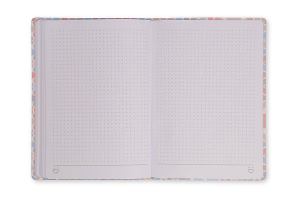 Image of Clover A5 Notebook open to show grid page design and lay flat binding