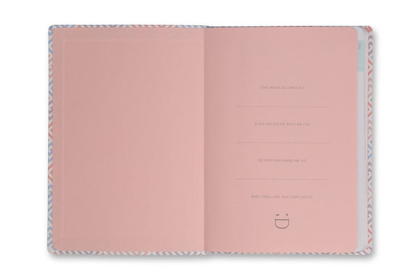 Image of inside front cover of Constance A5 Journal with pink end papers