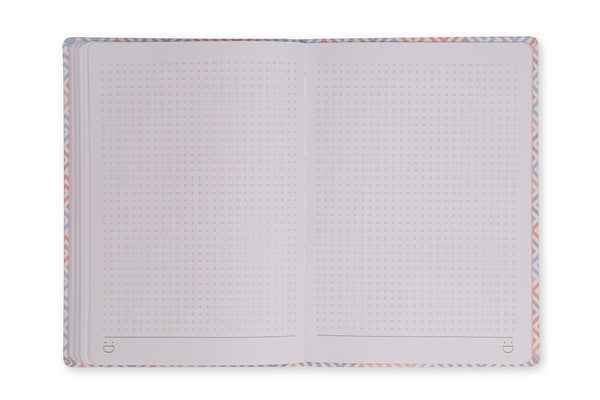Image of Constance A5 Notebook open to show grid page design and lay flat binding