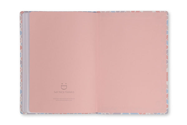 Image of inside rear cover of Clover A5 Notebook showing pink end paper design