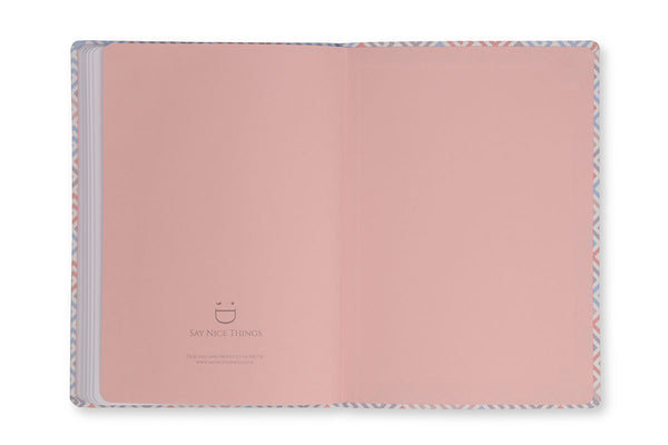 Image of inside rear cover of Constance A5 Notebook to show pink end paper design