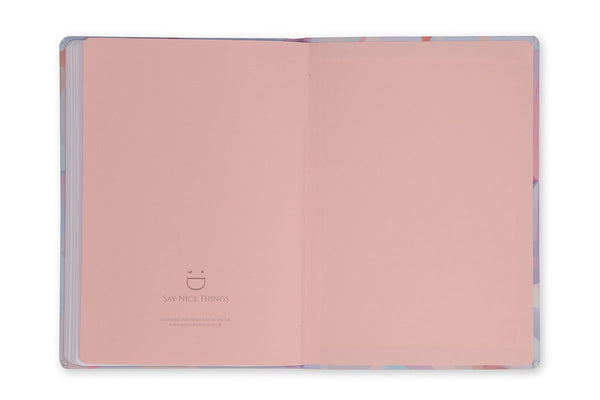 Image of Crystal A5 Notebook inside rear cover with pink end papers