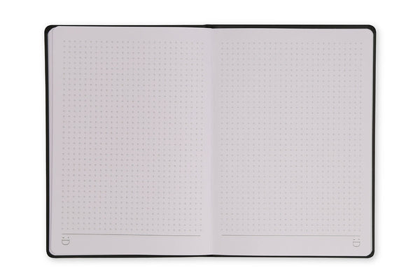 Image of Curtis A5 Notebook open to show grid page design