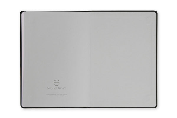 Image of Curtis A5 Notebook inside rear cover to show cool blue end paper design
